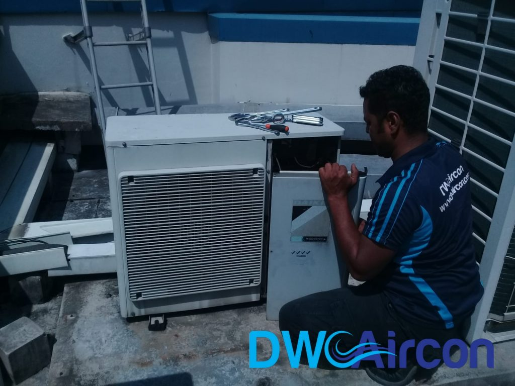 Condenser Replacement Aircon Repair DW Aircon Servicing Singapore Commercial Building Woodlands