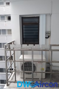 outdoor-unit-on-ledge-HDB-aircon-installation-dw-aircon-singapore