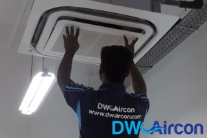 ceiling-cassette-aircon-undergoing-aircon-servicing-dw-aircon-servicing-singapore