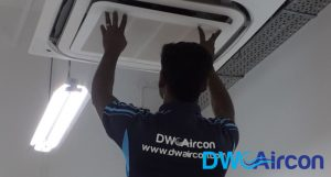 ceiling-cassette-aircon-undergoing-aircon-servicing-dw-aircon-servicing-singapore_featured